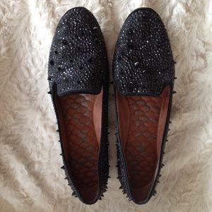 Sam Edelman Adena Black Satin Studded Loafers